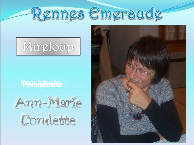 Présidente Ann-Marie Condette. A N. GO. RE